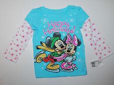 Langarmshirt~USA~Gr.80~Minnie Maus~Weihnachten~blau~Schneeflocke~Mickey~Winter