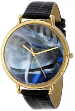 Whimsical Watches Ice Skating Lover Black Leather and Goldtone Photo Unisex