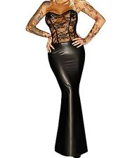 Latex Look Black Maxi Dress See Through Black Lace Top Sweetheart Neckline