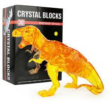 Yellow 3D Dinosaur Crystal Blocks Puzzle Jigsaw 50pcs Intelligence Fancy Toy