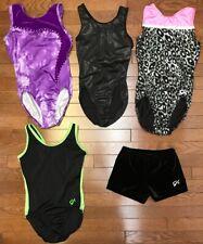 Lot of 5-GK Elite Gymnastics Tank Leotards x4 Bar Shorts x1 sz AXS VG/EUC