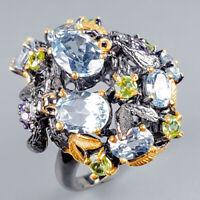 Vintage Natural Blue Topaz 925 Sterling Silver Ring Size 8/R124539