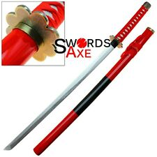 Japanese Anime Wooden Katana Sword Red Gold Replica Manga Cosplay Costume Safe