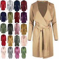 Womens Ladies Long Sleeve Oversized Waterfall Italian Blazer Belted Duster Coat
