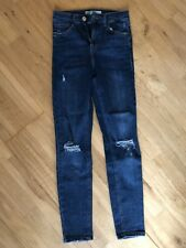 Topshop Moto Skinny Jeans Jamie  Ripped Blue Size W24 To fit L30