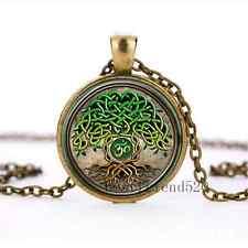 Celtic Yoga Tree of life Cabochon Glass Bronze Pendant Necklace jewelry