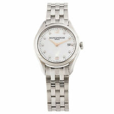 BAUME & MERCIER WOMEN'S CLIFTON MOA10176 QUARTZ SILVER DIAMOND WATCH