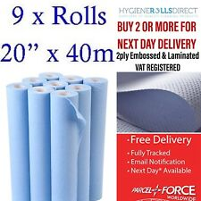 "Professional Blue 20"" Hygiene Roll Couch Roll Bed Rolls 2PLY x 9 rolls x 40M"