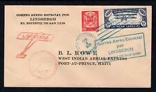 Dominicana Rep 1928 Lindbergh espíritu de St. Louis BL Rowe Cubierta de correo aéreo a Haití