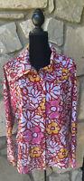 Chicos Zenergy Jacket Windbreaker Size 2 (L) Multicolor Floral Full Zip Snap