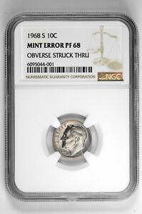 1968 S 10C Proof Roosevelt Dime NGC PF 68 Mint Error Obv Struck Thru