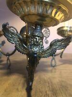 3light Antique Bronze Vintage angels Chandelier Lamp