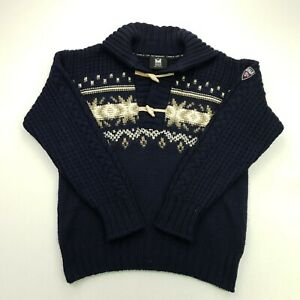 DALE OF NORWAY Mens  Nordic Norwegian Henley Pullover LARGE  Wool Sweater Jumper