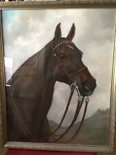 VINTAGE BAY HORSE PASTEL DRAWING PICTURE by ORABEL THORTVEDT ~ 1940