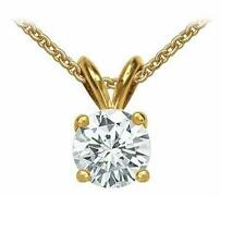 1 Carat Round Cut Solitaire Pendant Necklace And Chain in Solid 10K Real Gold