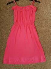 NEW LADIES PINK BANDEAU BRODERIE DRESS BEACH PARTY CRUISE HOLIDAY UK SIZE 14