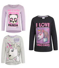 Girls Kids Official Licensed Emoji Panda / Unicorn Long Sleeve T Tee Shirt Top