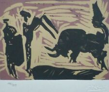 PABLO PICASSO BANDERILLAS BULL MATADOR HAND NUMBERED 186/333 signed LITHOGRAPH