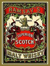 "TIN-UPS TIN SIGN ""Ramsey's Superior Scotch Malt Whiskey"" Alcohol Bar Vintage Ad"
