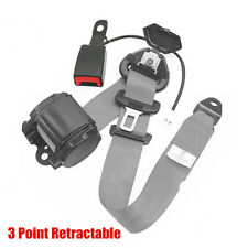 3Point Retractable Car Safety Seat Belts Lap W/Curved Rigid Buckle+Warning Cable