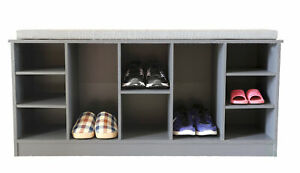 New Wooden Shoe Cubicle Storage Entryway Bench with Soft Cushion for Seating