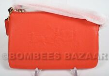 NWT AUTH COACH EMBOSSED HORSE CARRIAGE SMALL L-ZIP LEATHER WRISTLET CORAL 52500