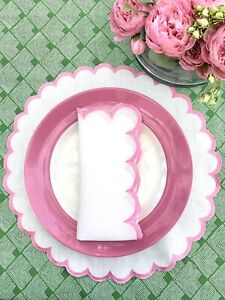 Pink Embroidered White scalloped Napkins.  Easy Care.Set Of 4.
