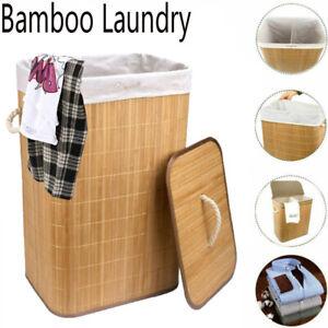 Large Bamboo Laundry Hamper Basket Wicker Washing Clothes Bathroom Storage Bin