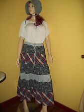 1800's Pioneer Prairie Costume size XL Music Man Skirt, Blouse New Bonnet or Hat