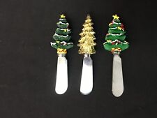 """3 Festive 4&7/8"""" Christmas Tree Cheese/Butter/Thick Dip Spreaders"""