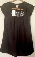 GIRLS Black Dress SATIN Dressy SIZE Medium Sally Miller Couture Orig $108 w/Tags