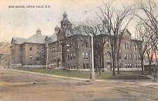 Little Falls New York High School Exterior Street View Antique Postcard K19926