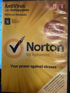 Norton Antivirus 2011 Antispyware CD Windows 7 Windows Vista Windows XP Netbook