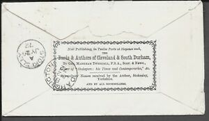 YORKSHIRE 1872 COVER 1d RED PLATE 119 739 ADVERTISING LABEL DARLINGTON CDS