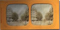 Parigi Rue Da Rivoli Foto Stereo di Carta Vintage Verso 1865