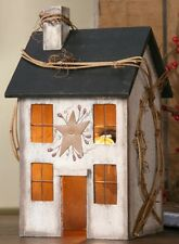 Primitive Wooden Whitewash Saltbox House Electric Light Country Farmhouse Decor