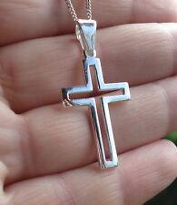Solid 925 Sterling Silver Plain/Open Cross Crucifix Pendant 33mm x 20mm