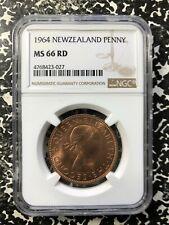 1964 New Zealand 1 Penny NGC MS66 Red Lot#PJ458 Gem BU!