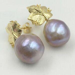 13-14mm Purple Baroque South Sea Pearl Earrings 18k Hooks Luxury Mesmerizing AAA
