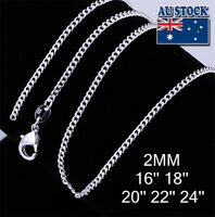 "Wholesale 925 Silver Filled 2mm Curb Chain For Pendants 16""18""20""22''24''"