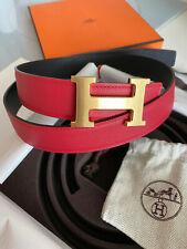 HERMÈS 32MM Belt RED / BLACK GOLD BRUSHED BUCKLE H SZ 85