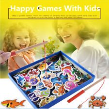 Baby Kids Magnetic Fishing Game 3D Jigsaw Puzzle Board Wooden Educational Toy UK