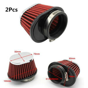 Round Tapered Metal Turbo Cold Air Intake Air Filter For Car SUV Engine 2.15in