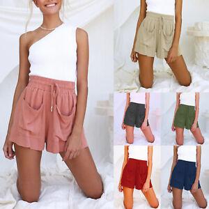 Womens Linen Shorts Cotton High Waisted Pockets Casual Bottoms Pants Summer
