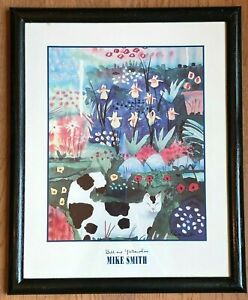 1993 Mike Smith Bill and Yellow Iris Framed Print of Cat in Garden