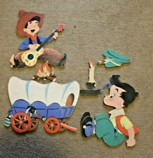 Vtg Dolly Toy Co Diecut Children'S Wall Hanging, Singing Cowboy, Nursery Rhyme