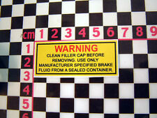 Period Brake Fluid Warning Sticker - Classic Car Detail Underbonnet Engine Label
