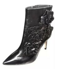 Zara Ankle Boots 37, US 6.5 Leather Floral 6076/201/040