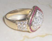 TOP Brillantring mit Rubinen Herzform Hochzeitsring Verlobungsring 18 kt Gold