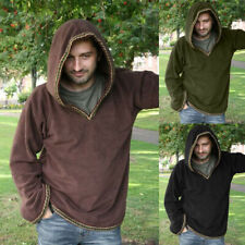 Medieval Renaissance Men Hooded Tunic Shirt Tops Pullover Hoodie Cosplay Costume